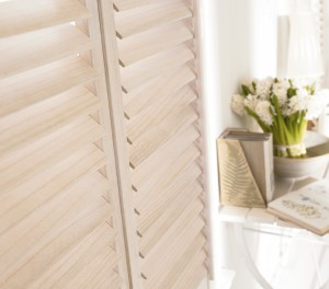 Lined White Plantation Shutters