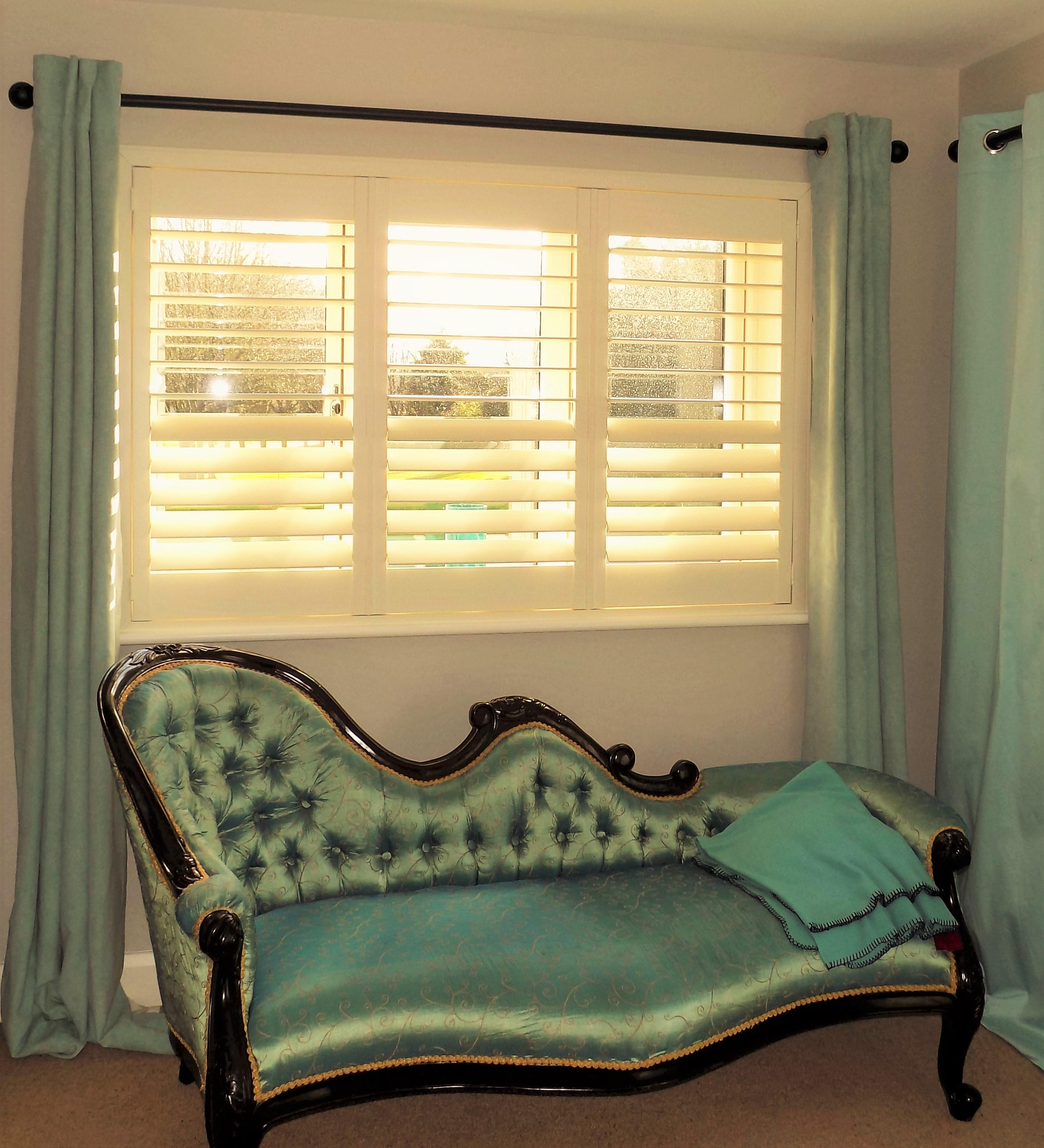 Plantation Shutters with Curtains – Shutters Of Dublin, Cork & Galway
