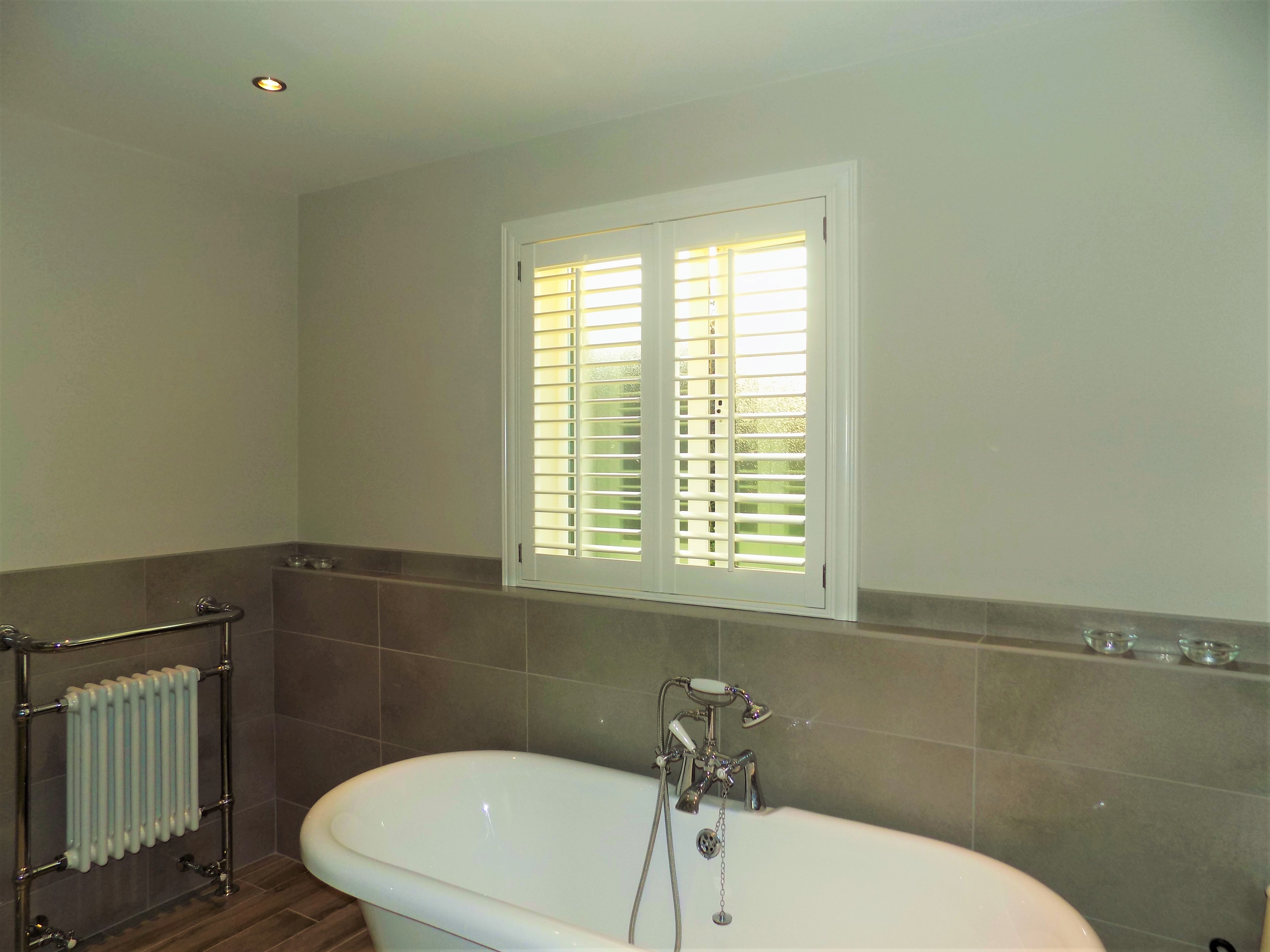 White Bathroom Shutters 3 5 Louvres In Silk White With