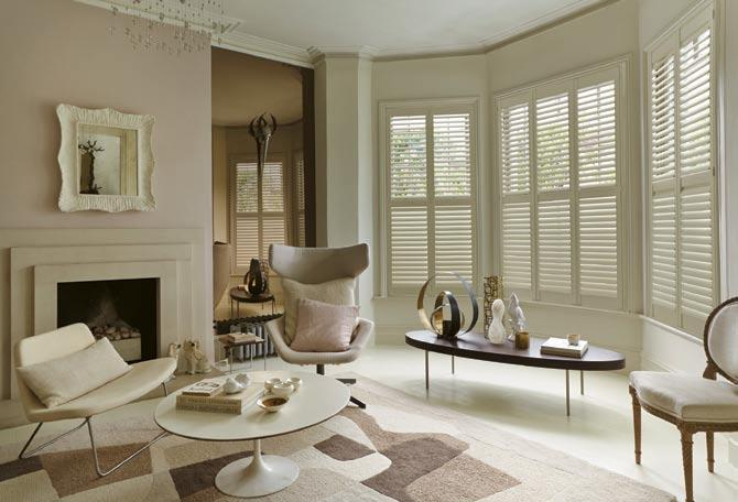 Sitting Room - Bay Window Plantation Shutters in Classic